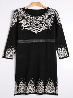 Rhinestoned Jacquard Sweater Midi Dress - Black