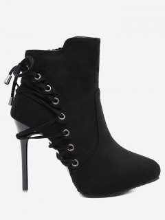 Pointed Toe Eyelet Stiletto Ankle Boots - Black 39