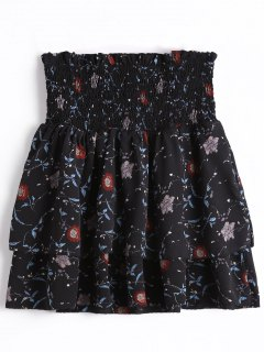 Smocked Floral Tiered High Waisted Skirt - Black M
