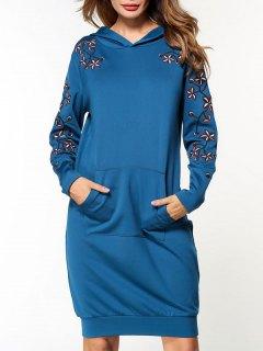 Robe à Manches Courtes En Coton Brodé - Bleu M