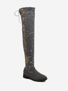 Round Toe Print Chunky Heel Thigh High Boots - Gray 36