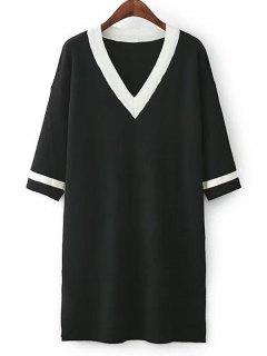 Side Slit Striped Knitted Dress - Black