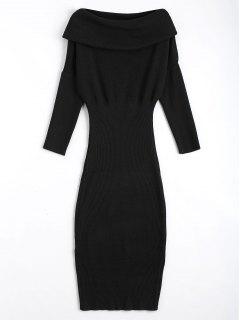 Overlap Off Shoulder Sweater Bodycon Dress - Black