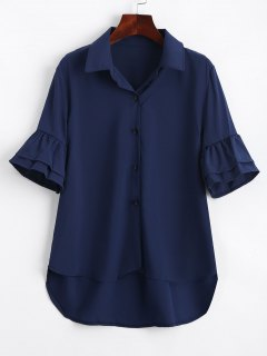 Half Buttoned Ruffled Sleeve Shirt - Purplish Blue S