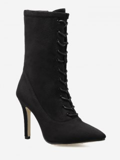 Stiletto Pointed Toe Lace Up Boots - Black 38
