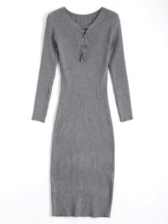 Long Sleeve Lace Up Sweater Bodycon Dress - Gray