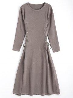 Long Sleeve Lace Up Sweater Midi Dresss - Smashing