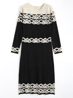Jacquard Long Sleeve Rhinestoned Sweater Dress - Black