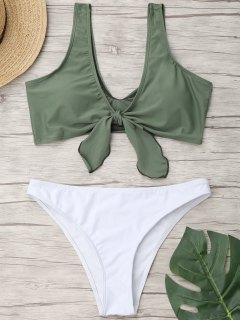 Tied Two Tone High Cut Bathing Suit - Green S
