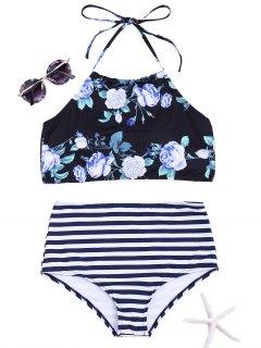 Floral Striped High Neck Bikini Set - Black S