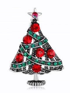 Vintage Rhinestone Christmas Star Tree Brooch