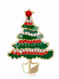 Rhinestone Christmas Tree Brooch - Green