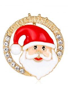 Santa Claus Head Portrait Round Brooch - Red