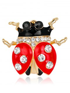 Rhinestone Ladybird Brooch - Red
