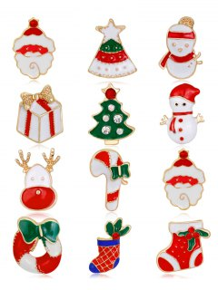 12PCS Rhinestone Christmas Wreath Santa Brooches
