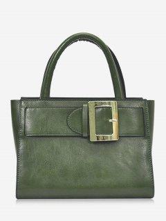 Buckle Strap Faux Leather Handbag - Green