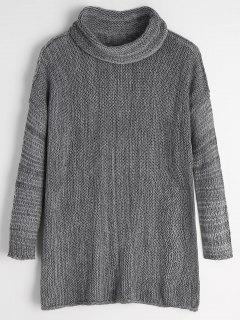 Turtleneck Drop Shoulder Tunic Sweater - Gray S