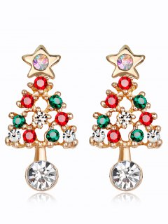 Acrylic Rhinestone Hollow Out Christmas Tree Earrings