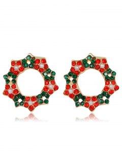Christmas Rhinestone Faux Pearl Wreath Earrings