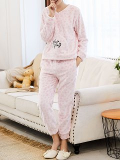 Embroidered Heart Flannel Loungewear Suit - Pink M