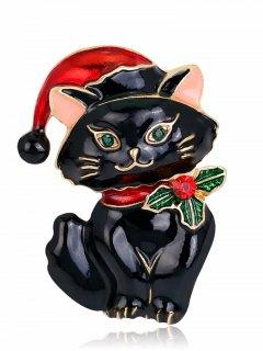 Christmas Hat Rhinestone Kitten Brooch - Black