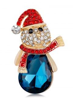 Faux Crystal Rhinestone Christmas Snowman Brooch - Blue