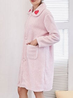 Heart Embroidered Flannel Night Robe - Light Pink M
