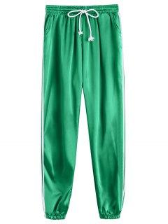 Drawstring Shiny Sporty Jogger Pants - Green L