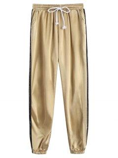 Sporty Drawstring Shiny Jogger Pants - Khaki S