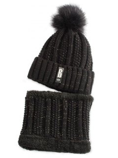 Label Knitted Pom Hat And Scarf - Black
