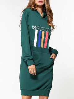 Front Pocket Hoodie Dress - Green M