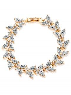Butterfly Faux Gemstone Embellished Charm Bracelet - White