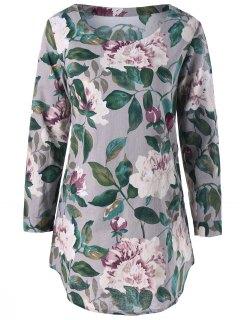 Slash Pockets Floral Tunic Top - Gray 2xl