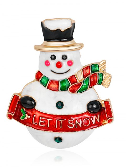 latest Let It Snow Snowman Brooch - RED  Mobile