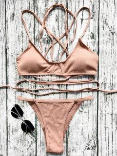 V String Bralette Bikini Set - Laterite M