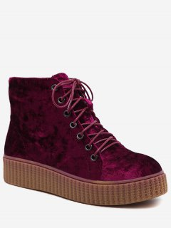 Tie Up Faux Suede Ankle Boots - Wine Red 39