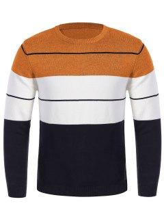 Mens Crew Neck Color Block Sweater - Orange M