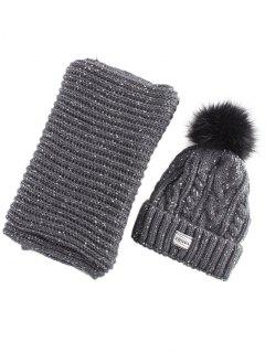 Hemp Flower Knit Pom Hat And Scarf - Black Grey