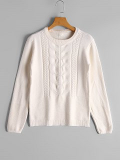 Cable Knit Panel Bowknot Applique Sweater - White
