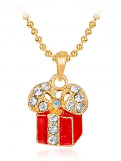 Gift Box Pendant Christmas Theme Charms Necklace - Red