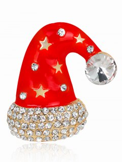 Christmas Cap Diamante Rhinestone Star Brooch - Red