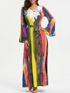 Lace Insert Bell Sleeve Printed Maxi Dress - 2xl
