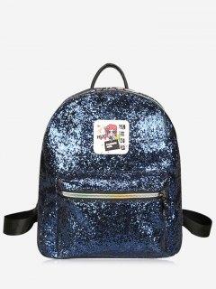 Zipper Glitter Backpack - Blue