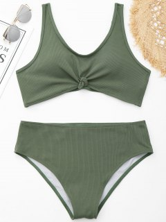 Knotted Ribbed Plus Size Bikini - Green 3xl