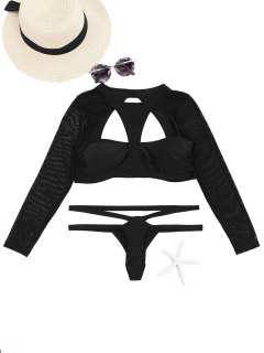 Cut Out High Neck Two Piece Swimsuit - Black S