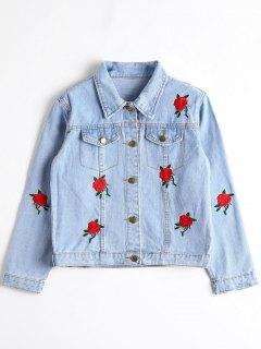 Denim Floral Embroidered Cropped Jacket - Denim Blue L