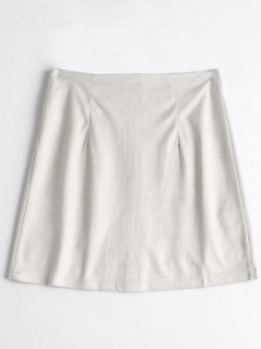 Zippered A Line Suede Skirt - Nude Xl