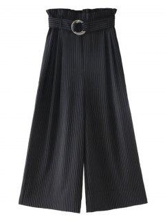 Belted Ninth Stripes Wide Leg Pants - Black M