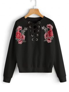 Lace Up Floral Patched Sweatshirt - Black S