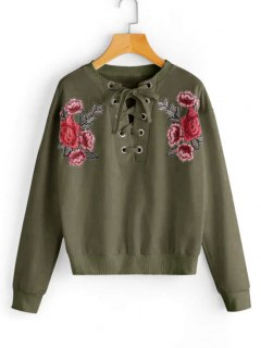 Lace Up Floral Patched Sweatshirt - Army Green S